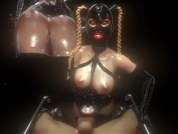 3D SFM VR Mistress fucks male slave with dildo, cums again multiple times