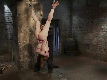 Suspended Slut toyed and throated