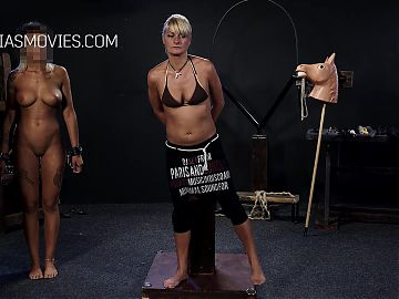 Big tits blonde get whipped by dominatrix